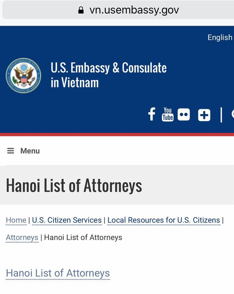 SBLAW listed by the US Embassy For American Citizens in Vietnam.