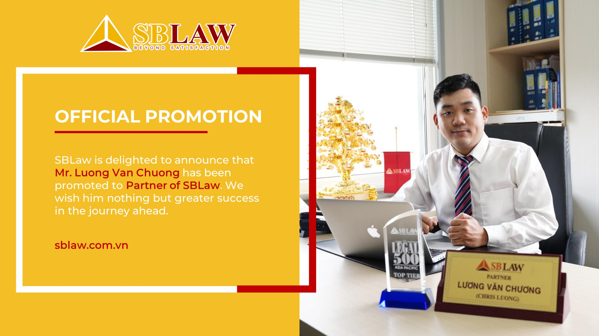 Lawyer Luong Van Chuong has been promoted to partner of SBLAW